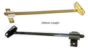 SLIDING Lid STAY,  For drop down door/flap, Cupboard doors. BRASS/CHROME. 190mm. 1,2 & 10 Pack